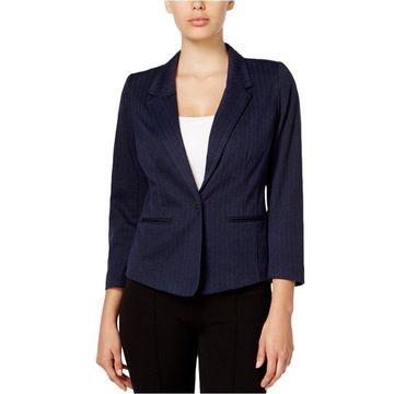 Kensie Womens Herringbone One Button Blazer Jacket