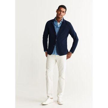 MANGO MAN - Structured fabric knit blazer dark navy - XS - Men