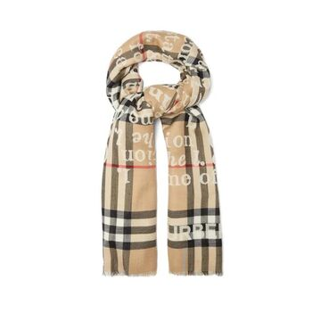 Burberry - Love-print Checked Cashmere Scarf - Womens - Beige Multi