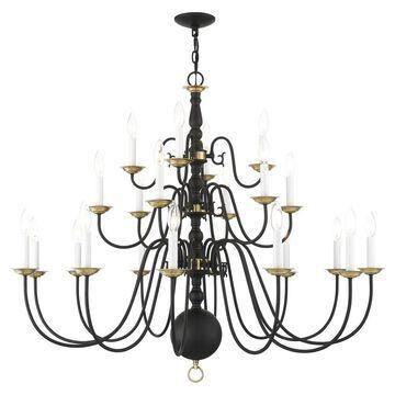 Livex Lighting Williamsburgh 22-Light Black Traditional Chandelier   5015-04