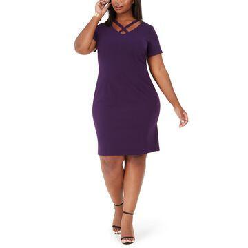 Plus Size Crisscross Sheath Dress