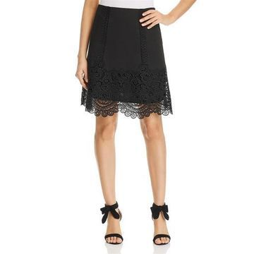 Kobi Halperin Womens Linen Embroidered A-Line Skirt