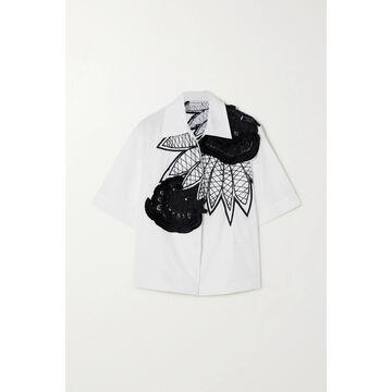 Dries Van Noten - Tasseled Beaded Embroidered Cotton-poplin Shirt - White