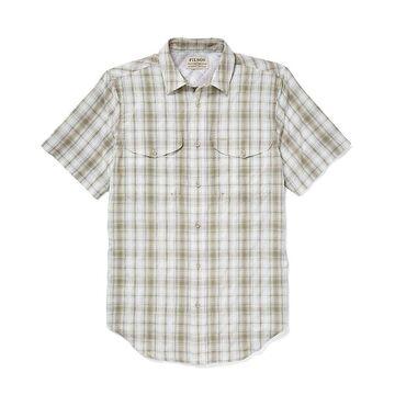 Filson Men's Twin Lakes Sport SS Shirt - Medium - Cream / Khaki / Green Plaid