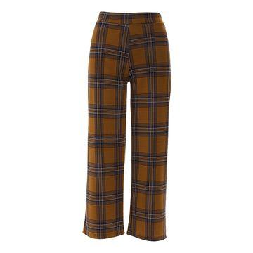 Derek Heart Women's Casual Pants BROWN - Brown Plaid Cropped Palazzo Pants - Juniors