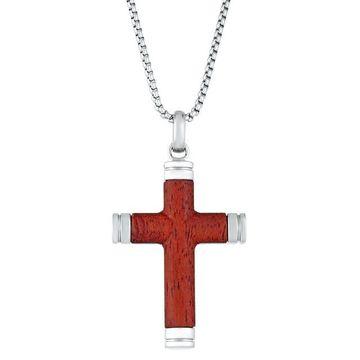 Men's LYNX Stainless Steel & Wood Cross Pendant