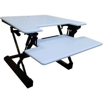 Hanover 27-In. Wide White Tabletop Sit or Stand Lift Desk with Adjustable Height for Offices, Schools, and Writing Stations