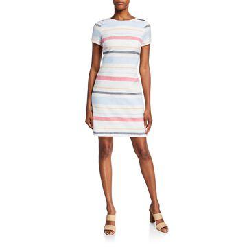 Striped Short-Sleeve Sheath Dress