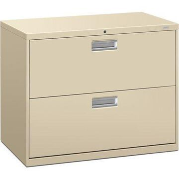 HON Brigade 600 Series Lateral File, 2 Drawers, Polished Aluminum Pull, 36