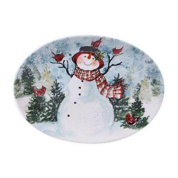 Certified International Watercolor Snowman Oval Platter