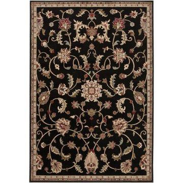 """Art of Knot Sabin Black 7'10"""" Round Traditional Border Area Rug"""