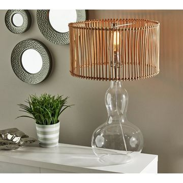 Adesso Glass & Brushed Steel Cuba Gourd Table Lamp