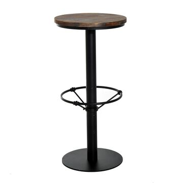 HomCom Round Industrial Metal Wood Top Bar Height Pub Table