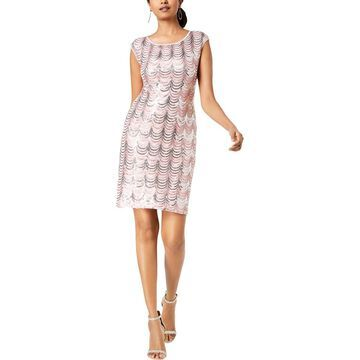 Connected Apparel Womens Sequined Mini Cocktail Dress