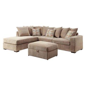 Coaster Fabric Sofa Set in Coffee