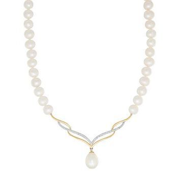Sofia Womens 1/8 CT. T.W. Cultured Freshwater Pearl 10K Gold Pendant Necklace Family