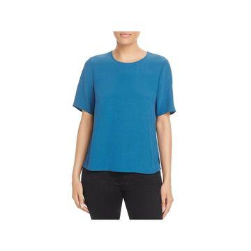 Eileen Fisher Womens Blouse Tencel Short Sleeves