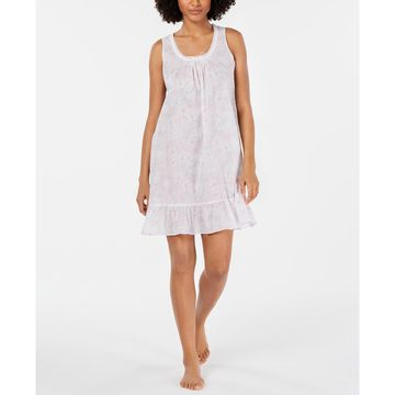 Smocking-Trim Printed Cotton Nightgown