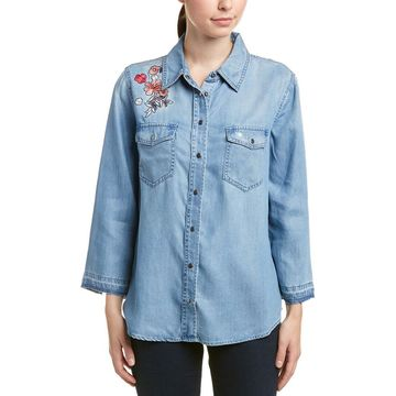 Nydj Womens Embroidered Shirt