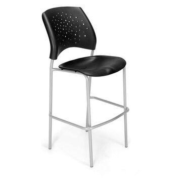 Ofm Stars Cafe H Plastic Chair, Black