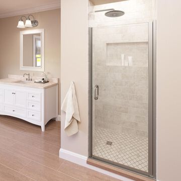 Basco Infinity 27-in to 28-in W Semi-frameless Hinged Brushed Nickel Shower Door
