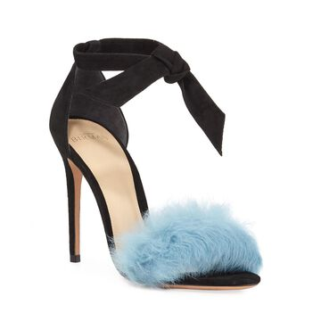Clarita Fur Ankle Tie Sandals