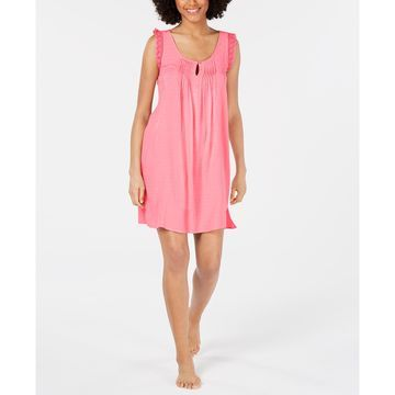 Lace-Trim Jacquard Dot Nightgown