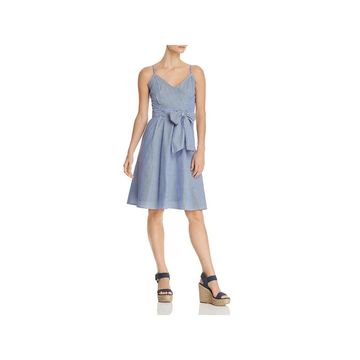 Cupio Womens Wrap Dress Pinstripe Sleeveless