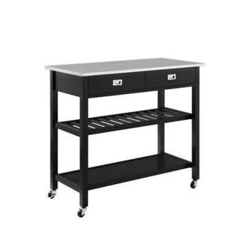 Crosley Chloe Stainless Steel Top Kitchen Cart in Black