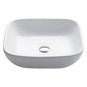 KRAUS Elavo Soft Square Ceramic Vessel Bathroom Sink in White