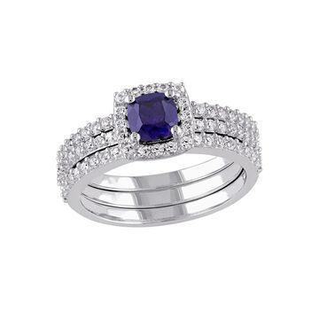Modern Bride Gemstone Womens Lab Created Blue Sapphire Bridal Set