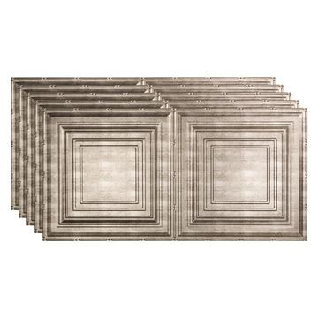 Fasade 48-in x 24-in Traditional 3 5-Pack Crosshatch Silver Patterned Surface-Mount Ceiling Tiles | PG5221