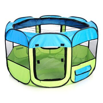 Pet Life All Terrain Lightweight Easy Folding Wire Framed Collapsible Travel Pet Playpen Blue And Yellow, Large, Yellow / Blue
