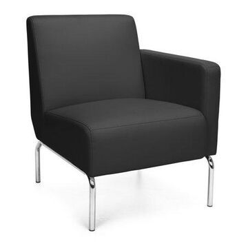 OFM Triumph Series Model 3001L Modular Left Arm Lounge Reception Waiting Room Chair, Polyurethane, Black