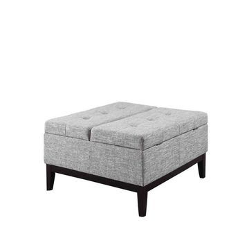 ORE International Beige Faux Leather Faux Leather Coffee Table Polyester in Gray