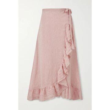 Lisa Marie Fernandez - Ruffled Metallic Linen-blend Gauze Wrap Midi Skirt - Baby pink