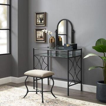 Mainstays Lattice Metal and Glass Vanity Set with Shelf and Upholstered Stool, Black