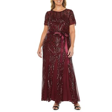 R & M Richards Short Sleeve Sequin Evening Gown-Plus