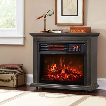 1500W Electric Fireplace Heater Firebox Infrared Flame Timer w/ Remote Control