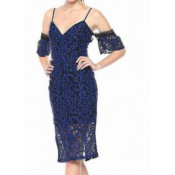 Bardot Womens Lace Off Shoulder V-Neck Sheath Dress