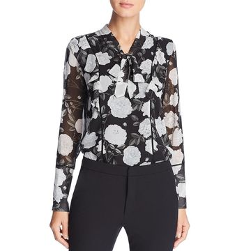 Karl Lagerfeld Paris Womens Floral Tie-Neck Blouse