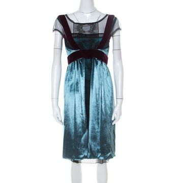 Philosophy di Alberta Ferretti Teal Blue Velvet Lace Short Dress S