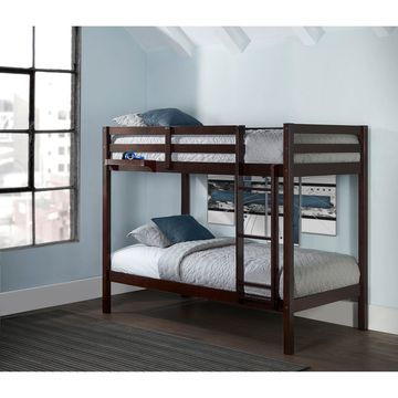 Caspian Twin Over Twin Bunk with Hanging Nightstand, Chocolate