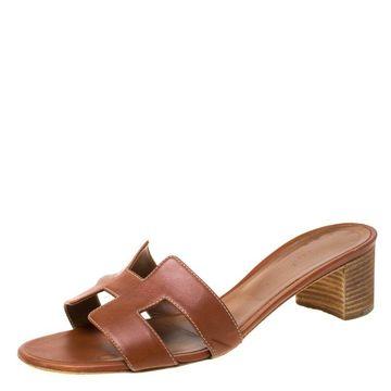 Hermes Brown Leather Oasis Slides Size 40