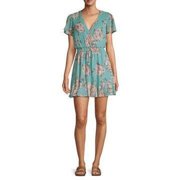 Trixxi-Juniors Short Sleeve Floral Wrap Dress