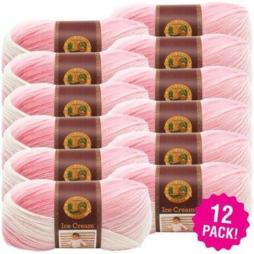 Lion Brand Ice Cream Yarn - Strawberry, Multipack of 12