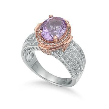 Suzy Levian Two-Tone Sterling Silver 4.9 cttw Purple Amethyst Ring - Pink