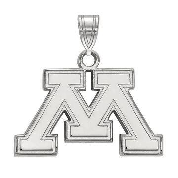 LogoArt 10K White Gold Minnesota Golden Gophers Pendant, Women's, Size: 18 mm, Silver