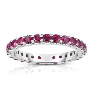 Noray Designs 14K White Gold Ruby Eternity Ring (1.50 cttw) - Red