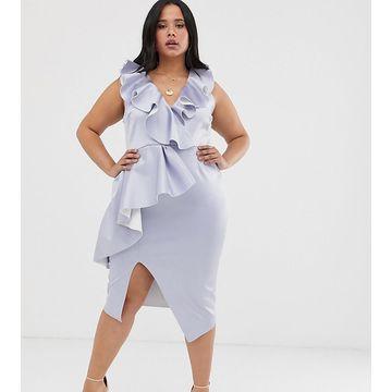 ASOS DESIGN Curve plunge ruffle midi dress with waterfall skirt